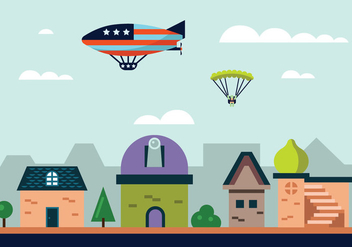 Hot Air Balloon Blimp Vector Illustration - Free vector #438489