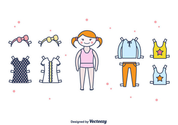 Paper Doll Vector Set - Free vector #438529