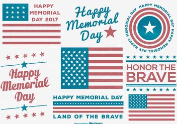 Memorial Day Label Collection - vector gratuit #438569