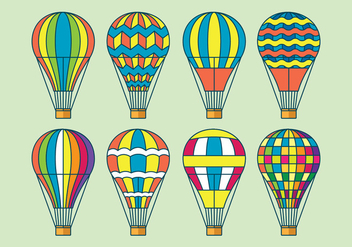 Hot Air Balloon Vector Icons Set - vector gratuit #438599