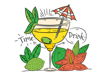 Hand drawn Yellow Cocktail Drink With Lime And Flower - бесплатный vector #438619