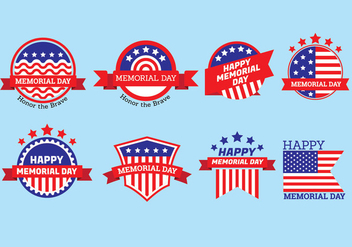 Set of Memorial Day Label Vectors - vector #438659 gratis