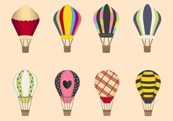 Flat Hot Air Balloon Vectors - Free vector #438679