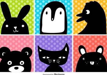 Vector cartoon animals head set - vector #438709 gratis
