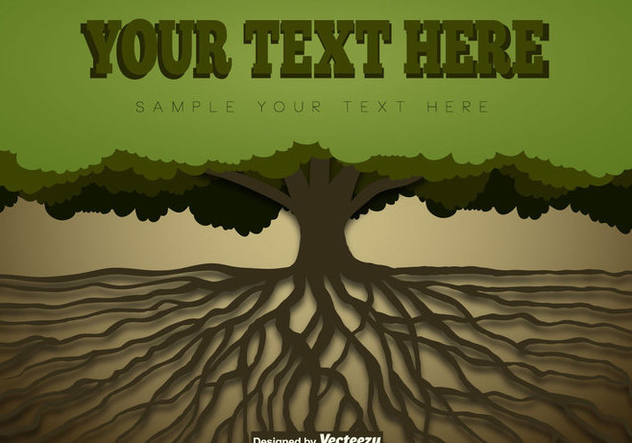 Tree With Roots Template - Free vector #438719