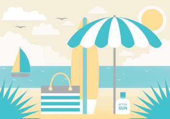 Free Summer Landscape Vector Greeting Card - vector gratuit #438759