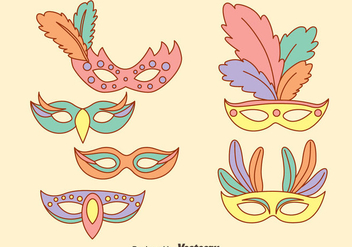 Masquerade Mask In Pastel Colors Vectors - Free vector #439309