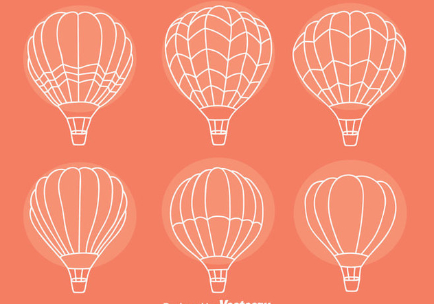 Sketch Hot Air Balloon Collection Vectors - Kostenloses vector #439419