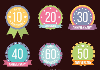 Nice Colored Anniversary Badge Collection Vectors - бесплатный vector #439429