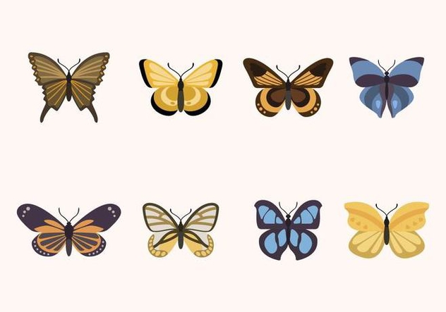 Flat Butterfly Vectors - Free vector #439439