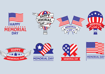 Set of Memorial Day Label Vectors - бесплатный vector #439509