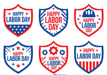 Shield Badge Labor Day Vectors - бесплатный vector #439569