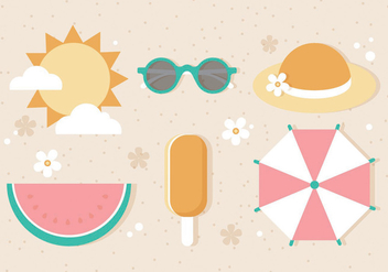 Free Flat Vector Summer Elements - Free vector #439599