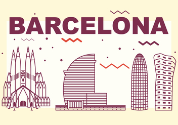 Barcelona City Skyline - Free vector #439639