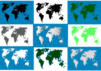 Silhouette World Map Pack - vector gratuit #439649