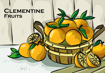 Clementine On Basket Vector Illustration - Kostenloses vector #439759