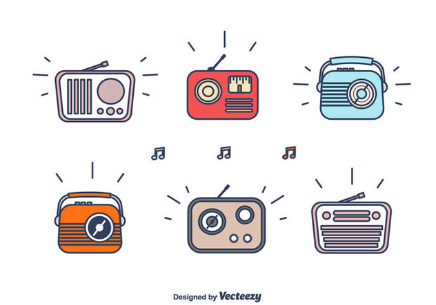 Retro Cartoon Radio Set - Free vector #439779