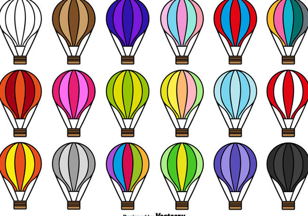 Hot Air Balloon Icon Vector Collection - Free vector #439789