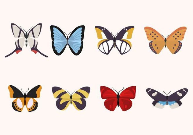 Flat Butterfly Vectors - Free vector #439869
