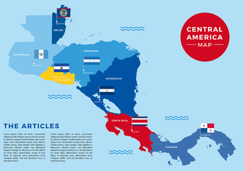 Central America Map Flag Free Vector - vector gratuit #439899