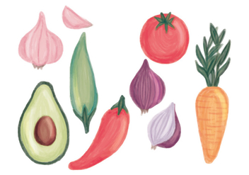 Vector Hand Drawn Vegetable Set - Free vector #439949