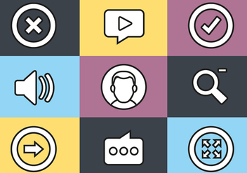 Free Flat Design Media Vector Icon Set - Free vector #439989