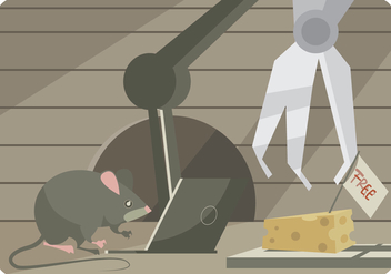 A Mouse Tries to Hack a Mouse Trap with Laptop and Robot Vector - Free vector #440099