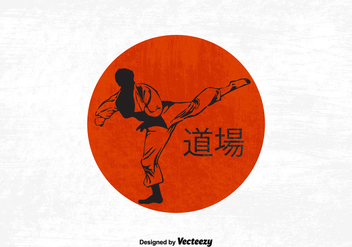 Silhouette Of A Karateka Doing Standing Side Kick - Free vector #440149