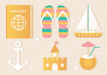 Free Flat Vector Summer Travel Elements - Kostenloses vector #440169