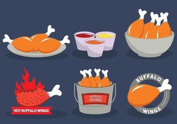Buffalo wings vector illustration set - vector #440249 gratis