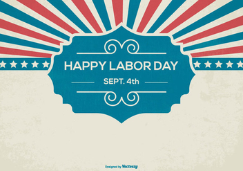 Retro Happy Labor Day Background - vector gratuit #440329