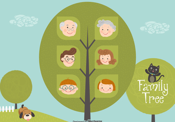 Cute Cartoon Family Tree Vector - Free vector #440349