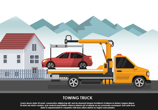 Towing Truck Transportation Emergency Car Vector Illustration - vector #440449 gratis