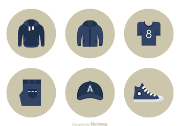 Casual Clothes Flat Vector Icon Set - бесплатный vector #440479