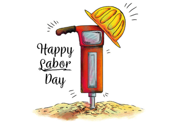 Watercolor Demolition Hammer for Labor Day Vector - бесплатный vector #440489