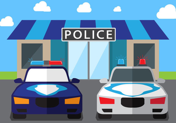 Police Car Vector Background - vector gratuit #440519
