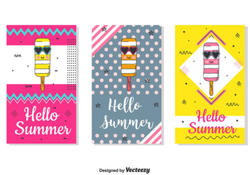 Hello Summer Card Set - Free vector #440549