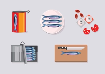 Sardine in the Box set - Free vector #440579