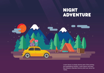 Night Adventure Carpool Vacation Vector Flat Illustration - vector #440639 gratis