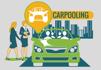 Carpooling in the City Background Vector - vector gratuit #440659