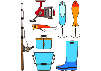 Set Equipment Icon Of Fishing Tackle - vector #440699 gratis