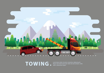 Towing Truck Service Vector Flat Illustration - Kostenloses vector #440769