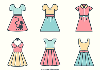 Retro Fifties Dresses And Skirts Vectors - Free vector #440819