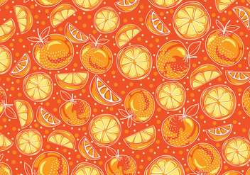 Seamless hand drawn yellow clementine vector pattern - Free vector #440869
