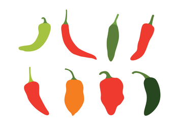 Chili Peppers Vector Set - бесплатный vector #440879