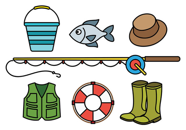 Fishing Tackle Vector Icons - vector #440889 gratis