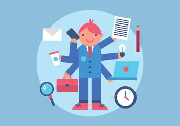 Busy Multitasking Man Vector - Free vector #440899