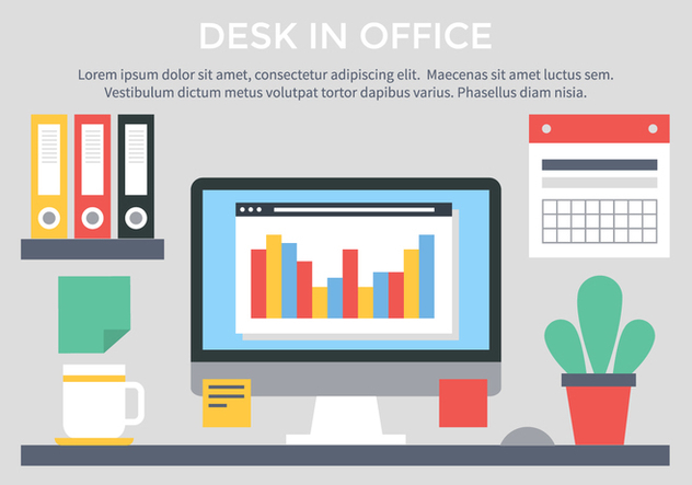 Free Vector Flat Design Workspace - Free vector #440929