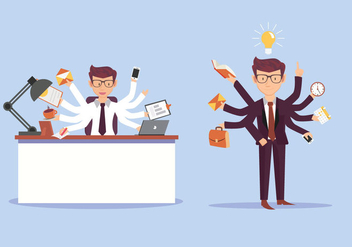 Multitasking Business Man Vector Illustration - Free vector #441019