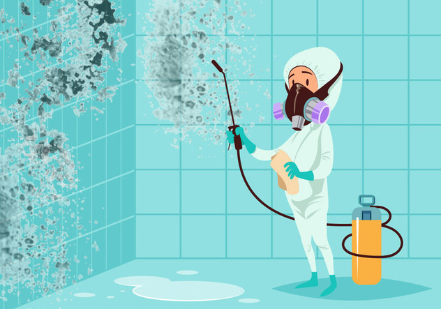 Man Cleaning Moldy Bathroom Vector - бесплатный vector #441039